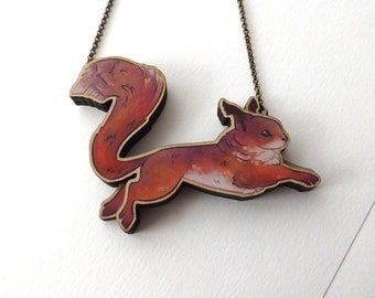 Laser Cut Soaring Squirrel Woodland Necklace, an illustrated layered wood statement necklace - Woodland Nature Forest Animal Jewellery
