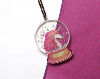 Kawaii Pink Unicorn Confetti Snow Globe Necklace - Magical Creatures Terrarium Jewellery - Laser Cut Clear Acrylic - Unicorn Jewelry