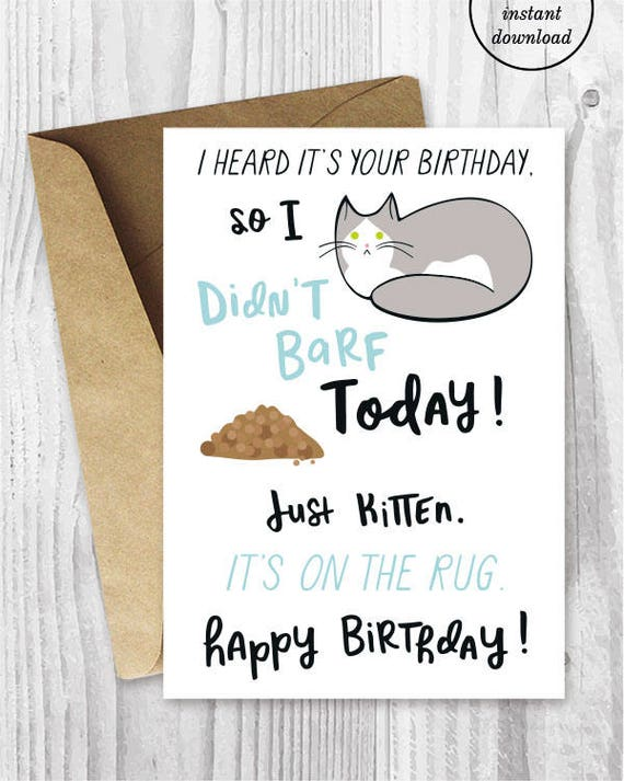 Funny Birthday Printable Cards Funny Cat Birthday Cards Grey – Funny Birthday Printable Cards