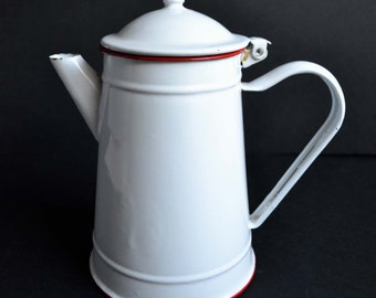 Vintage French White Enamelware Coffee Pot with Red Trim Retro Enamel Cafetiere