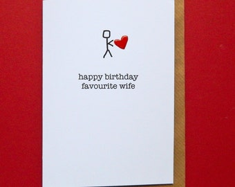 Happy Birthday Favourite Wife, red enamel love heart, funny wife birthday - Hand-enamelled art card.