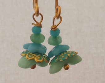 Turquoise Earrings with Beautiful spacer, Turquoise Earrings Gold Turquoise dangle, handmade earrings