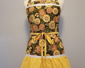 Sunflower Apron Womens Hostess Yellow Green