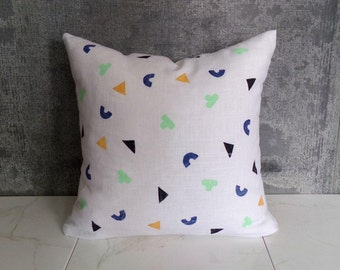 White Linen Pillow Cover with Geometric Shapes / Mint Navy Mustard Black Decorative Throw Cushion Confetti Triangles Modern Bedding Accent