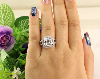 5 Carat Promise Ring, Huge Engagement Ring, Asscher Cut CZ Ring, Bridal Ring, Diamond Simulants