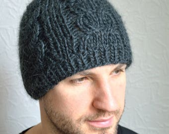 Hand knitted men's hat