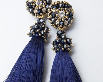 Blue earrings. Tassel earrings. Navy earrings. Embroidery earrings. Beaded earrings. Festive earrings. Long earrings. Bridesmaid earrings