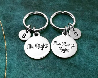Mr Right Keychain SMALL Mrs Always Right Keychain SET Husband Keychain Wife Keychain Anniversary Keychain Couples Keychain Mr. Mrs. Keyring