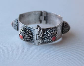 Antique Berber Silver North Africa Bracelet - Antique Oriental Filigree Cuff  Bracelet