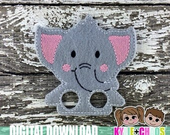 Elephant Finger Puppet ITH Embroidery Design