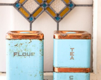 3 Vintage Turquoise Kitchen Tin - Lincoln Beautyware - Mid Century - Free Shipping Within the USA