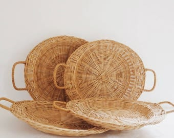 Vintage Wicker Dinner Trays with Rattan Handles, 70s Dining Trays, Plate Holders, Boho Home and Kitchen Decor, Vintage Basket Trays
