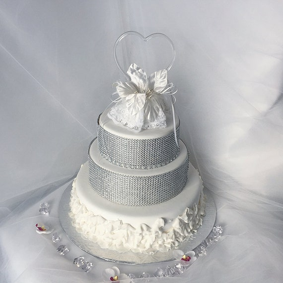 Items Similar To Heart Wedding Cake Topper Glass Heart White Wedding Cake Topper Wedding Cake