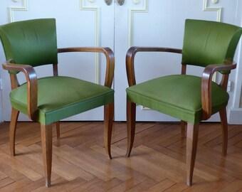 Paire de fauteuils Bridge Art Déco années 40. Paire de fauteuils vintage vert.