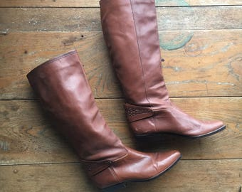 Vintage Tooled Leather Riding Boots | US 7.5 | Retro | 1970's Fashion | 1980's Fashion