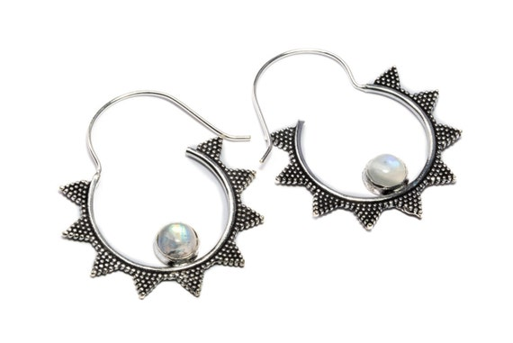 White Brass Moonstone Gemstone Hoop Earrings Tribal Earrings Mandala Jewellery Free UK Delivery Gift Boxed WB54