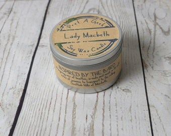 Fandom Candle ~ Lady Macbeth ~ Inspired by the Bard ~ Shakespeare Literary Candles ~ 8oz Soy Candle