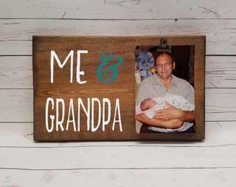 me grandpa picture frame gift gift for papa dad photo board picture with clip wood grandma mom dad aunt uncle gift gpa7x12