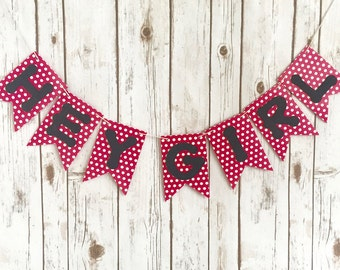 Hey Girl Banner / Birthday Party Sign / Stagette / Bachelorette / Hot Pink and White Polka Dots / Hot Pink and Black / Happy Birthday