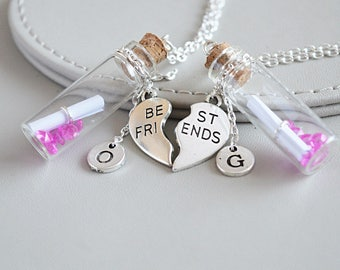 Friendship necklaces for 2, best friend necklaces for 2, BFF personalised gift, customized jewelry, bff heart necklace,2 way friendship gift