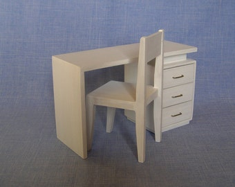 Desk and chairs for 12 inch doll / Barbie dollhouse furniture/ 1:6 scale