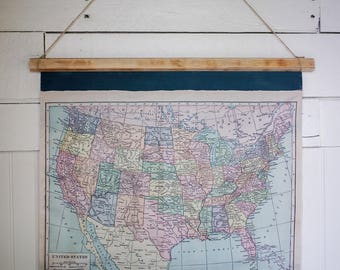 "United States Map // Handmade // Vintage Map // School Map // Industrial // 20.5"" by 21.5"""