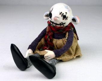 ooak Halloween art doll ELINOR artist doll creepy cute handmade collectible scarred horror steampunk doll stocking stuffer polymer sculpture