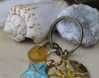 Sunshine and Sand Keychain - Coastal Gifts - Beach Key Chain - Starfish - Sea Glass - Beach - Purse Accent - Beach Purse Accent - Mermaids