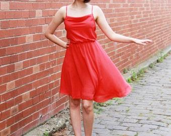 SALE Vintage 1970s Coral Red Ballerina Dress / Chiffon Dress / Full Skirt / Romantic Ballerina Dress / XS