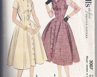 Vintage McCalls 3007 from 1954  Misses Jumper or Dress, Fitted Bodice, Full Skirt.  Retro, Rockabilly,  Bust 32
