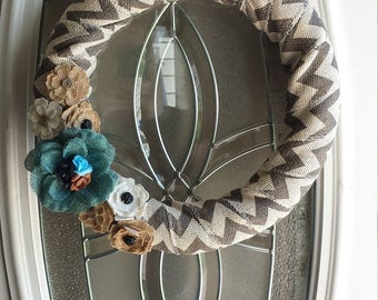 FREE SHIPPING Chevron Burlap Spring Summer Wreath with Burlap and Plastic Flowers, Lightwieght, Grey and White