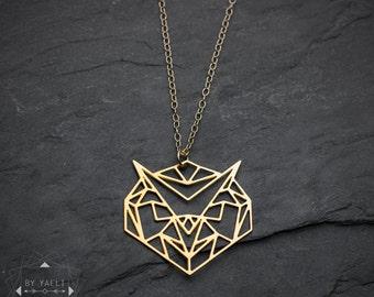 Owl necklace, owl geometric necklace, owl animal necklace, owl bird necklace, gold necklace, unique necklace, owl pendant everyday necklace.