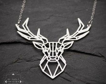 Geometric necklace, animal necklace, deer necklace, deer antler necklace, gold necklace, unique necklace, goldfilled necklace, 14K gold.