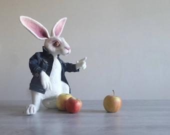 Felt animal Art doll White Rabbit Summer party Alice in Wonderland COLLECTIBLE Artist teddy rabbit Poseable Needle felted animal Felt doll