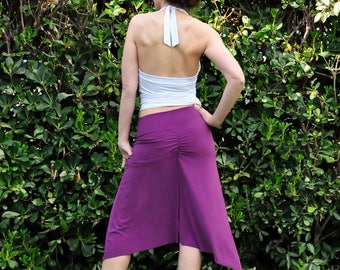 Tango skirt with slits many colors, lilac,dark green, yellow, black, red, petrol, mustard