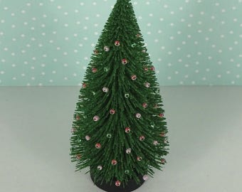 Doll house Christmas tree green coral pale pink mint