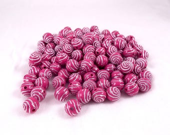 Pink Acrylic Round Beads W/ Silver Dotted Spiral Pattern Approx 163 pcs 9.5mm