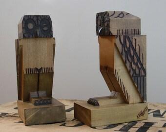 Pair of greenhouse book owls - Art Deco