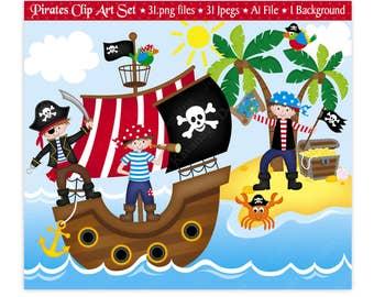 Pirate Clip Art,Pirate Clipart,Pirates Clipart,Clipart,Pirate Ship Clipart,Pirate Party,Pirate Birthday,Scrapbooking,Vector,Commercial