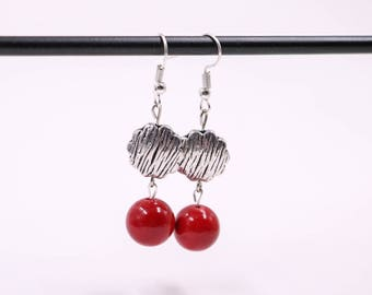 Bohemian Earrings // Red Jade Bead Earrings // Dangle Earrings // Womens Earrings // Tibetan Silver Earrings // Fashion Jewelry