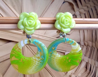 Green and Turqoise Dangle Clip Earrings