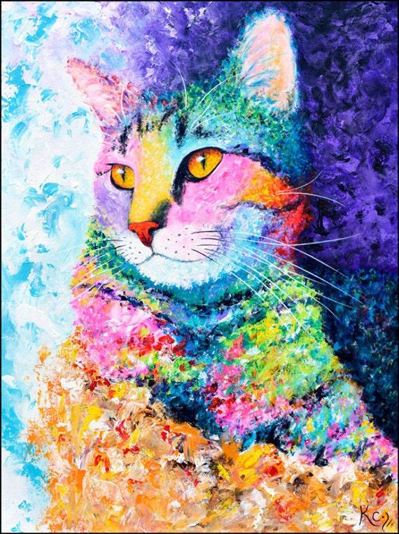 Colorful Tabby Cat Art Print - Cat Print, Whimsical Cat Art, Cat Poster, Tabby Cat Wall Art, Cat Portrait, Tabby Cat Gift, Art of Cats.