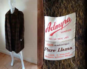 Vintage 50's 60's Soft Fluffy Long Brown Llama Wool Plaid Check Winter Jacket Coat