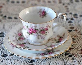 """Vintage Lavender Rose Trio Teacup Set from Royal Albert /Teacup Saucer 6 1/2"""" Plate Set / Fancy Tea Set / Royal Albert Trio Tea Set / Trio"""
