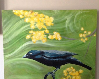 "Blackbird acrylic painting 24"" x 30"" linen canvas #316P1"