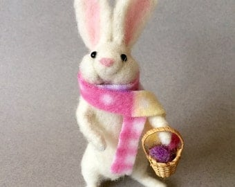 Needle felted Easter Bunny with a basket of eggs, felted rabbit,needle felted rabbit, felted animals, needle felted animals, felted bunny