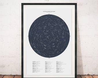 Contellation print, Constellation art, Constellation map, Star chart, Space art, Ursa major, Ursa minor, Constellations, Wall art, Blue art