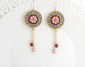 Gold dangle earrings, Round earrings, Peach earrings, Long dangle earrings, Multicolor earrings, Hanging earrings, Chunky earrings