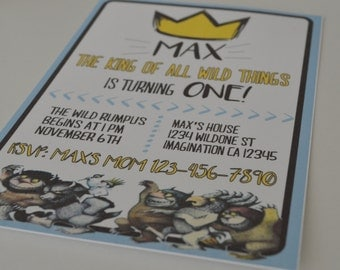 Where the Wild Things Are Invitations - Wild One Invite - Let the Wild Rumpus Start