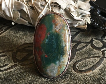 Bloodstone Ring Large Crystal Ring / Big Statement Ring / Handmade Stone and Copper Electroformed Ring / Hippie Ring Gypsy Ring Boho Ring